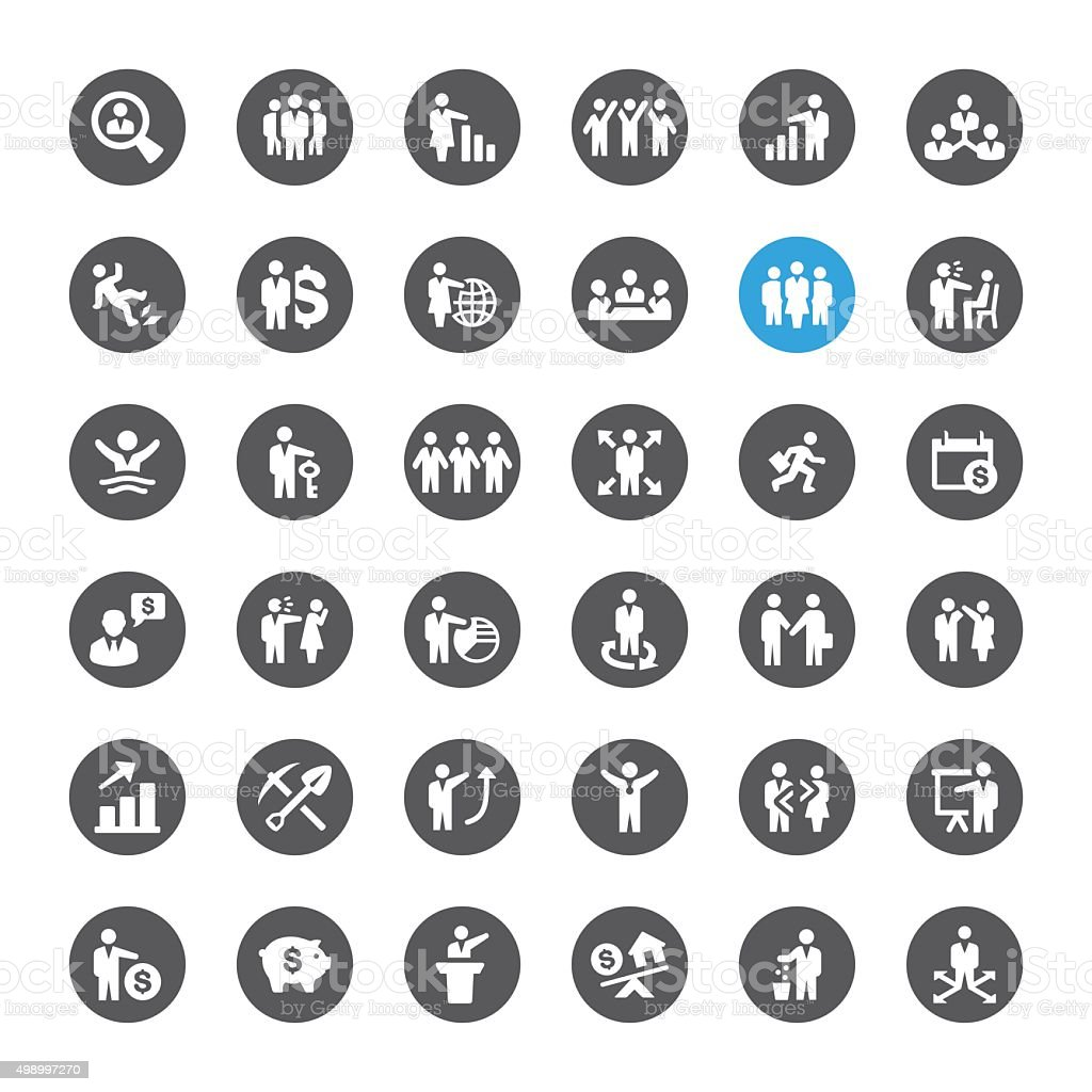 Business and Human Resources related vector icons vector art illustration