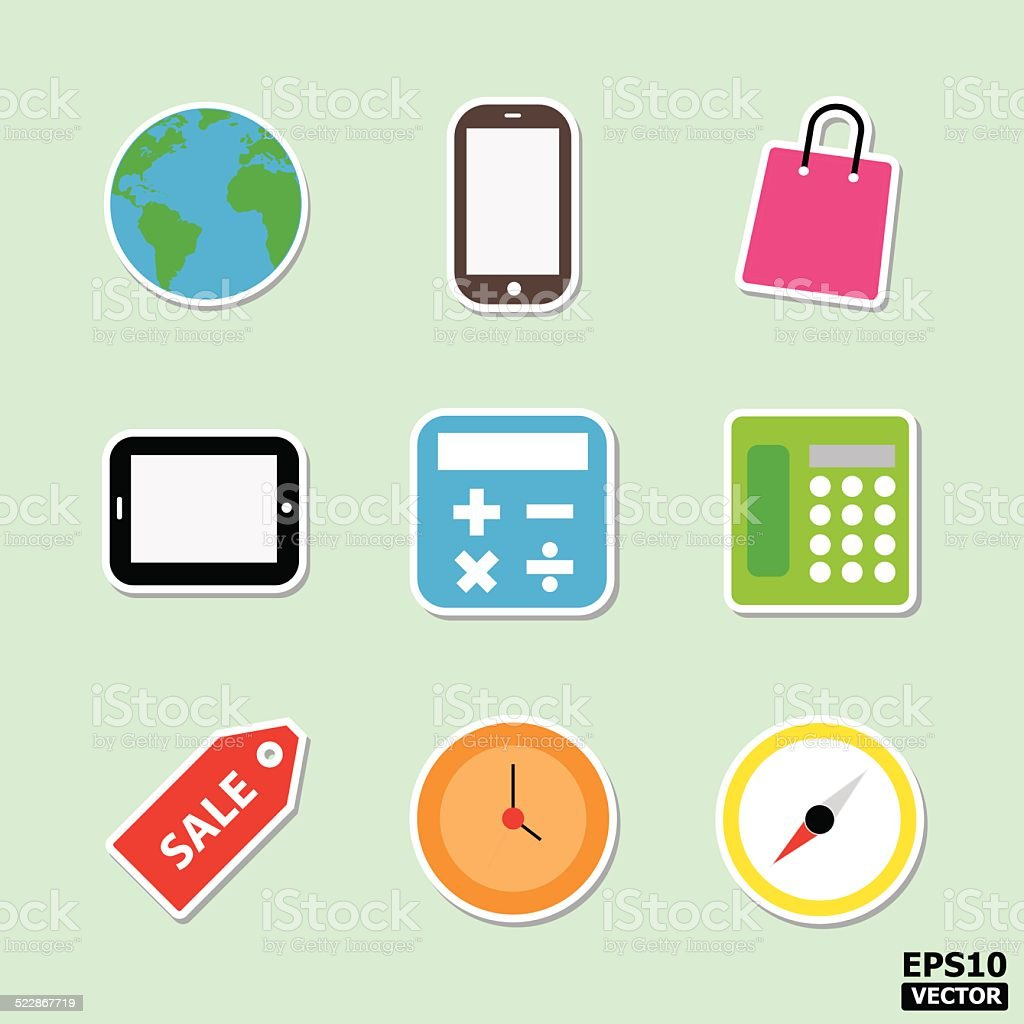 Business and interface icons or symbols set. royalty-free stock vector art