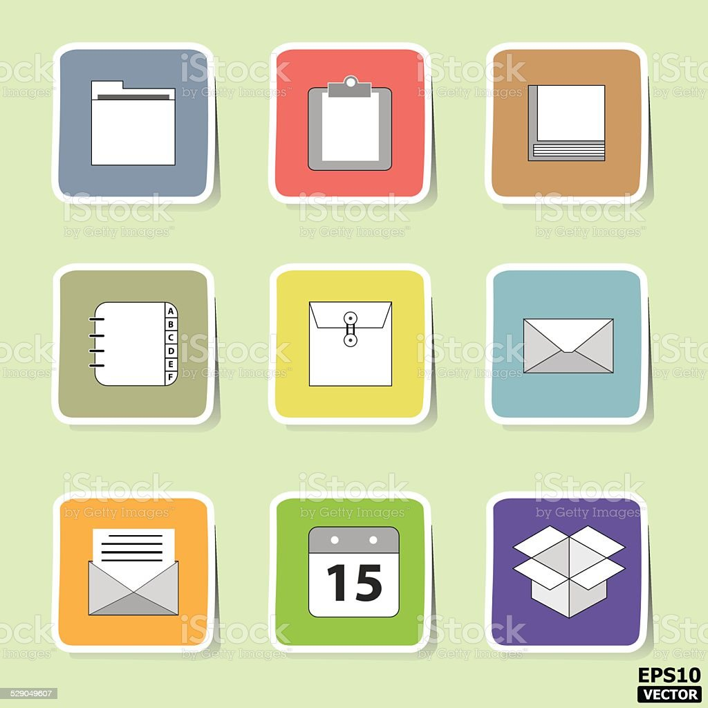 Business and interface paper icons or symbols set. -eps10 vector royalty-free stock vector art