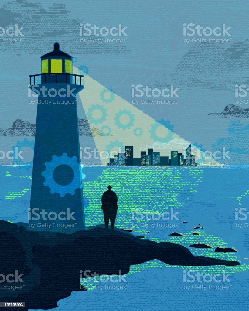 Business and investment concept lighthouse cove vector art illustration