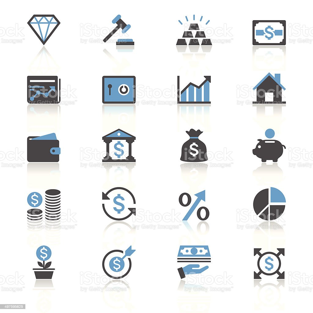 Business and investment flat with reflection icons vector art illustration