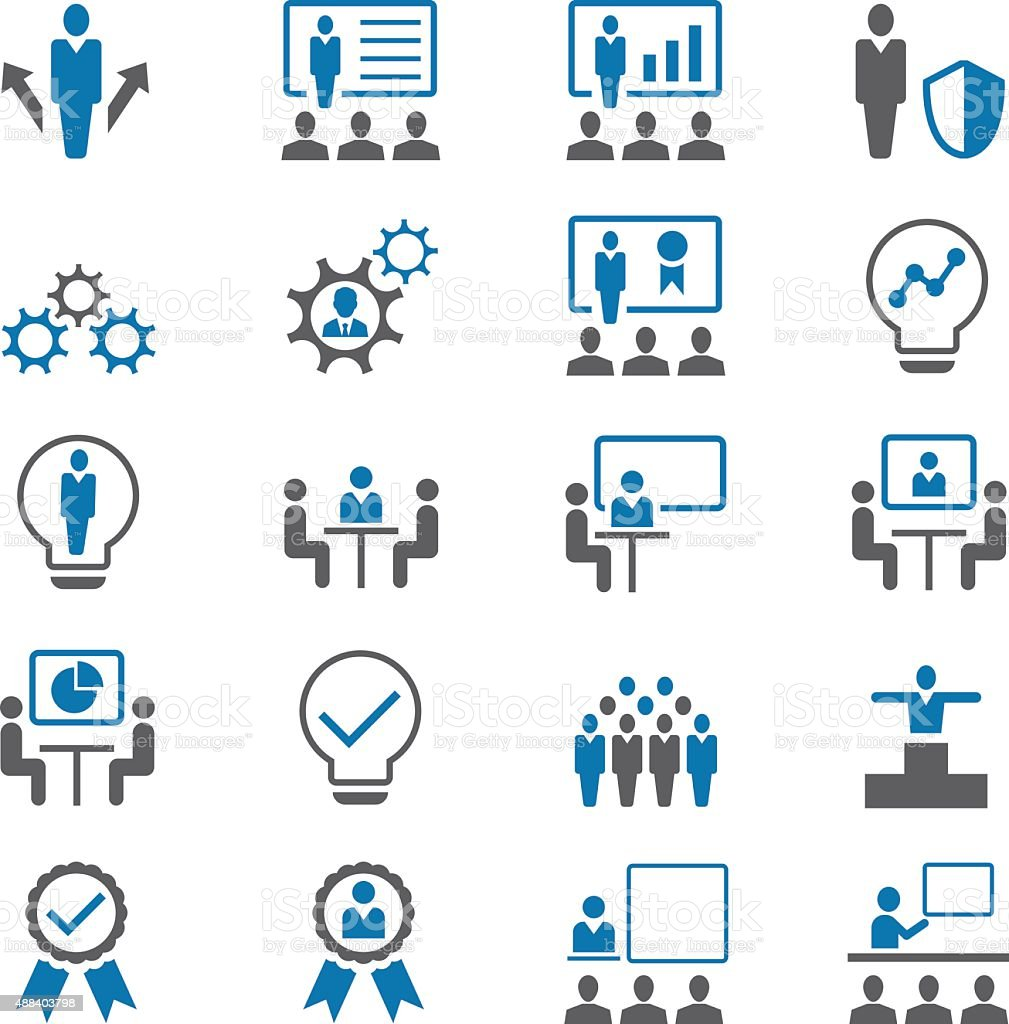 Business and management icon set vector art illustration