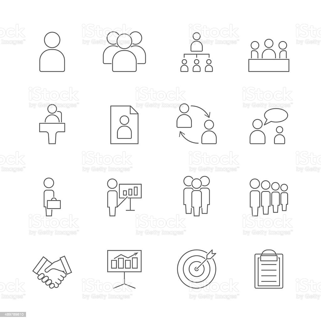 business and management icons set vector art illustration