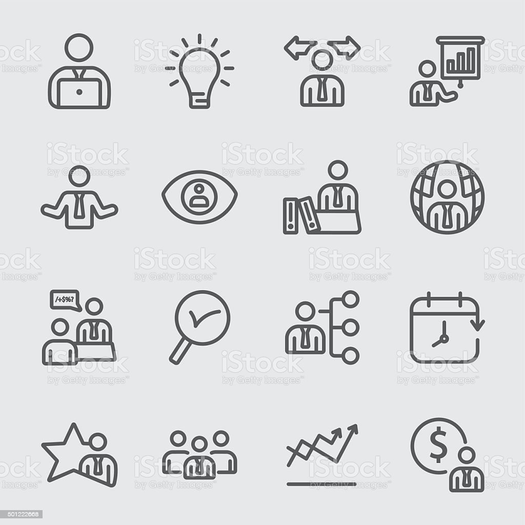 Business and Management line icon vector art illustration