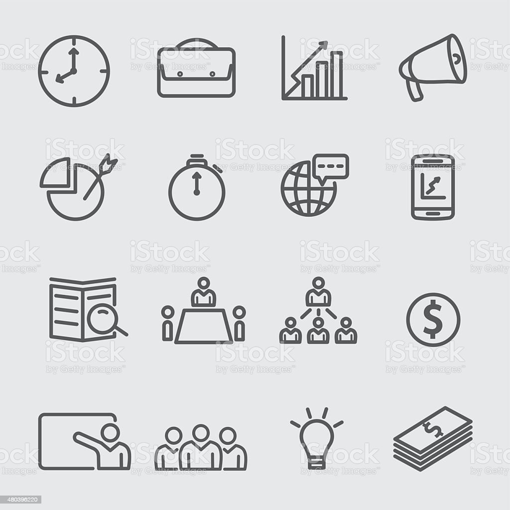 Business and management line icons vector art illustration