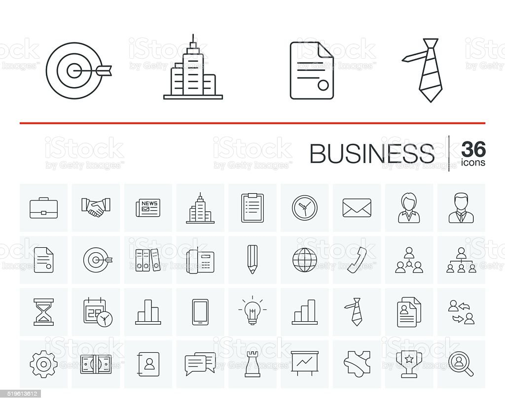 Business and management vector icons vector art illustration
