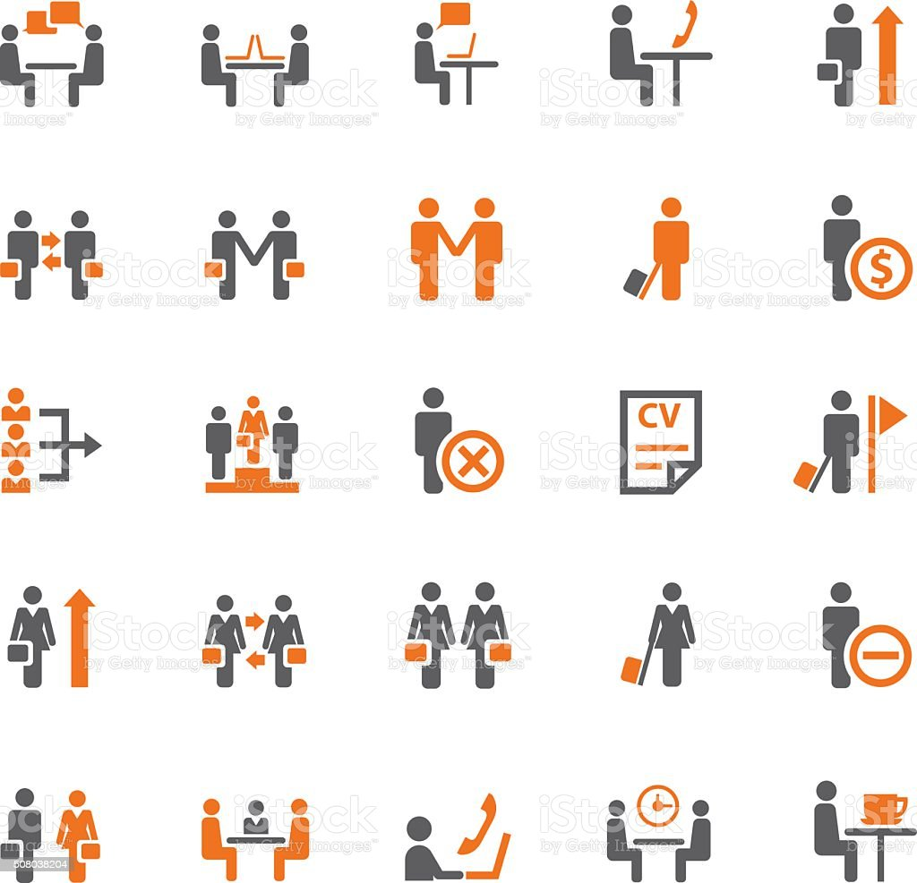 Business and meeting icon set vector art illustration