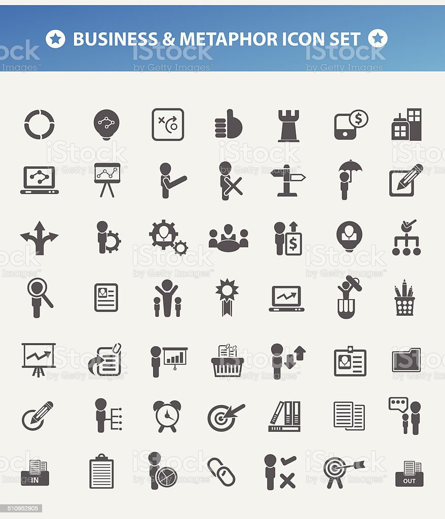 Business and Metaphor,human resource,management for firm icon set vector art illustration