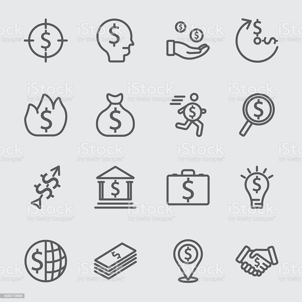 Business and Money line icon vector art illustration