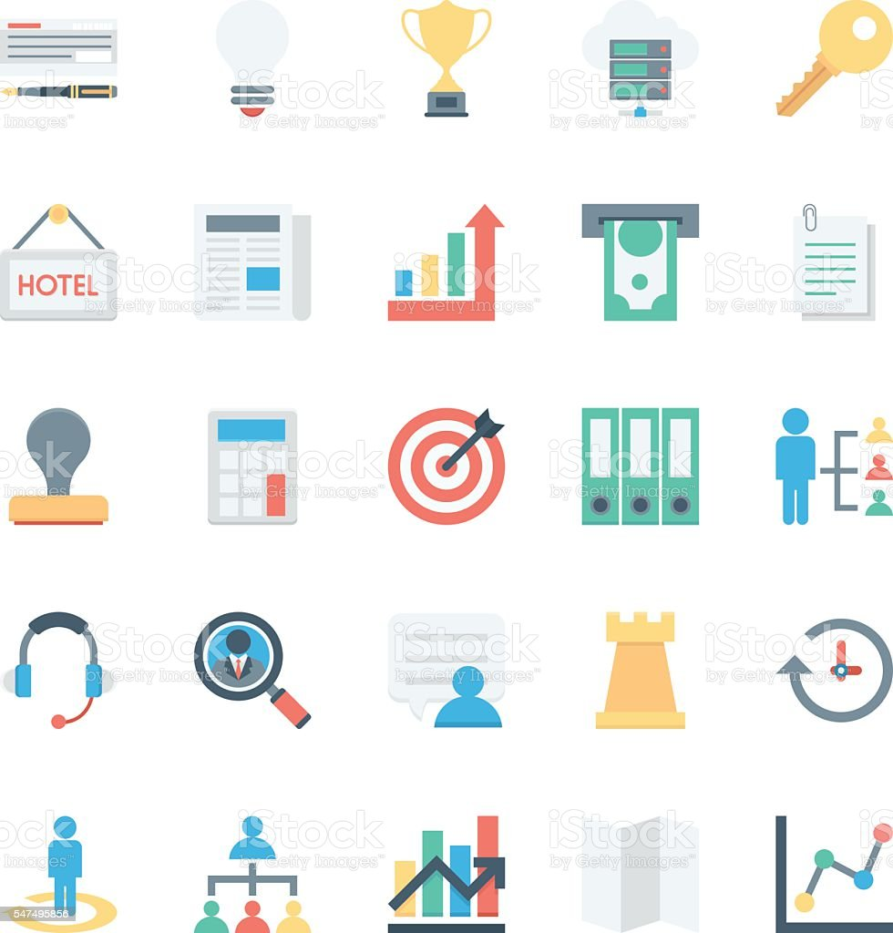 Business and Office Colored Vector Icons 3 vector art illustration