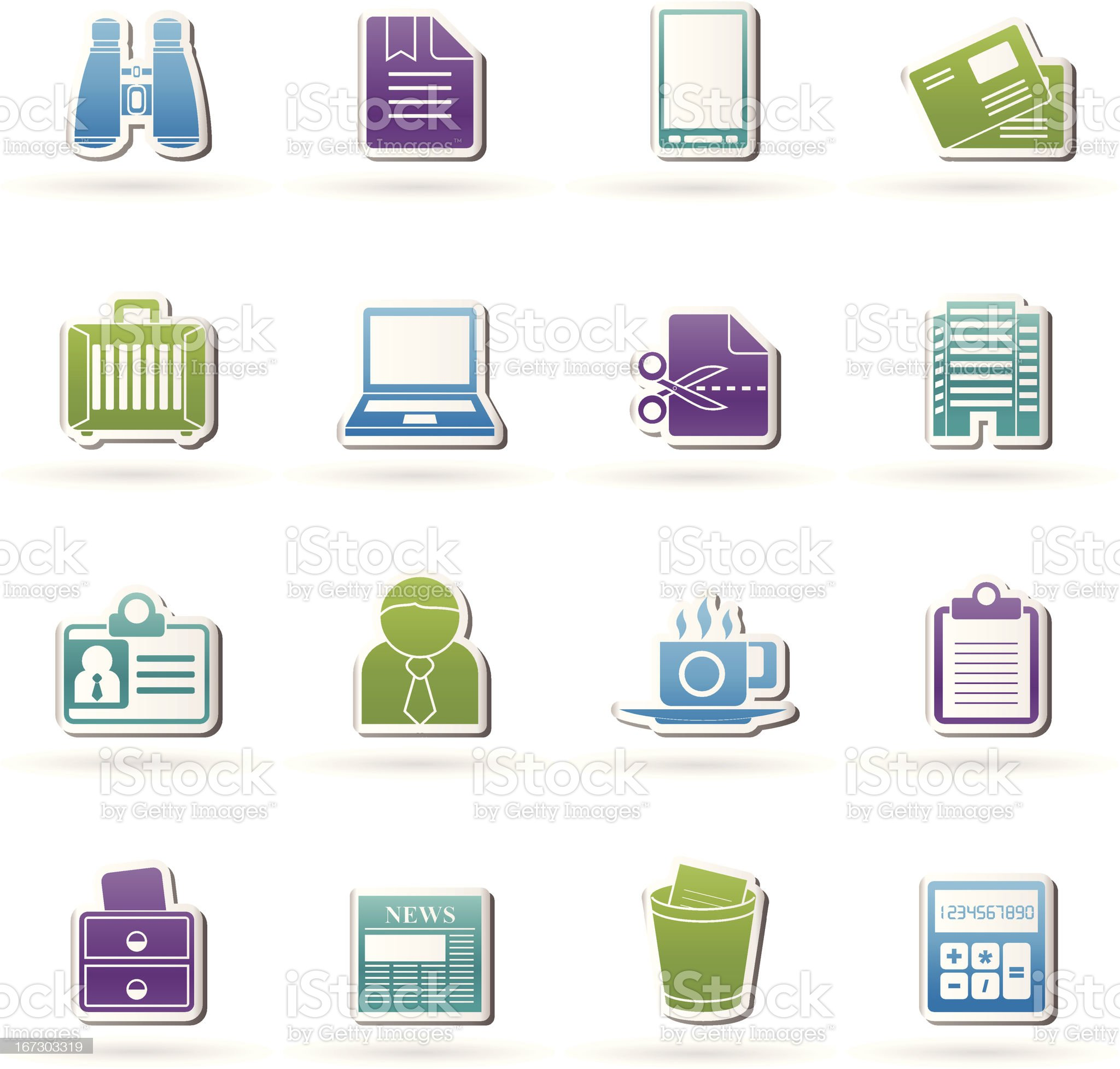Business and office elements icons royalty-free stock vector art