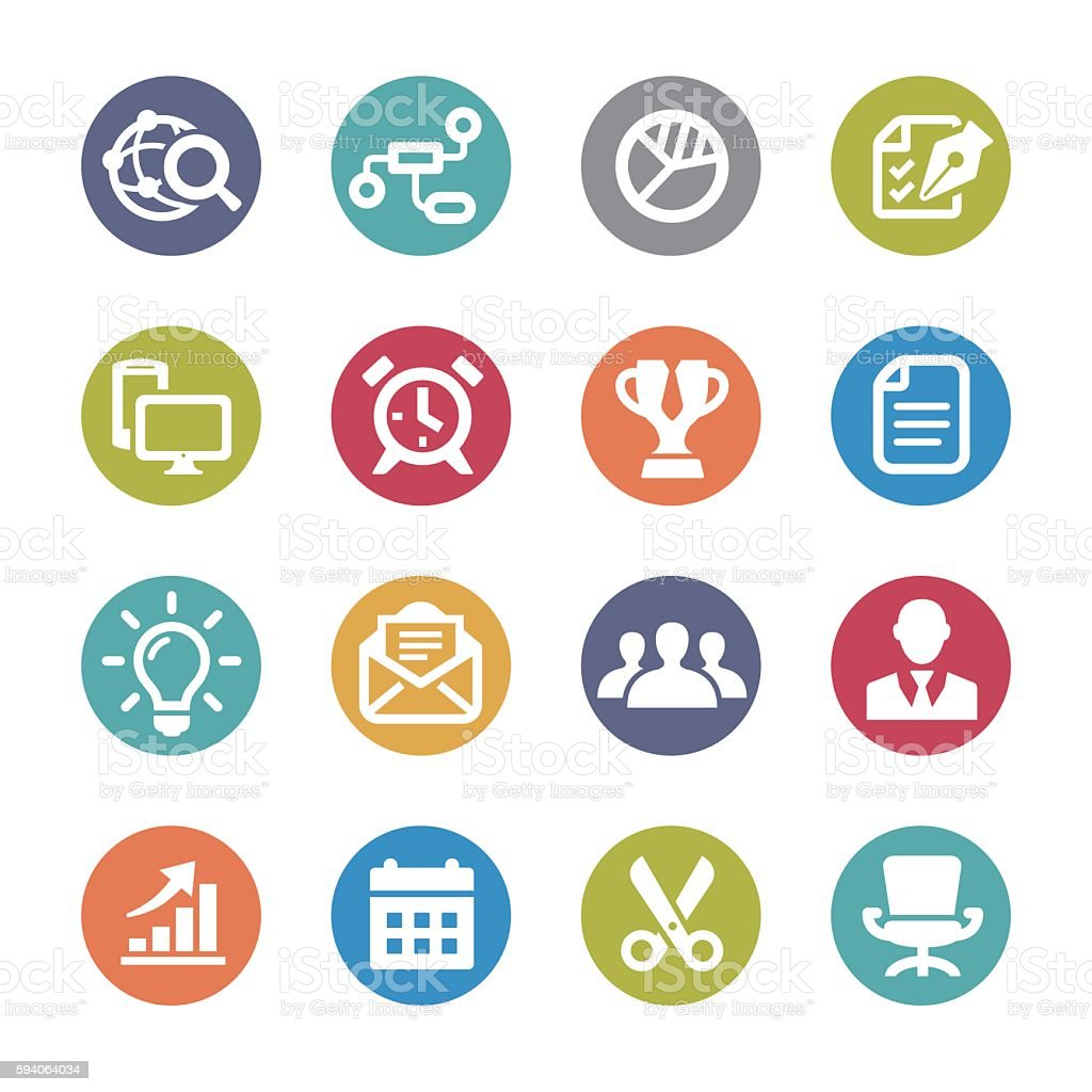 Business and Office Icon Set - Circle Series vector art illustration