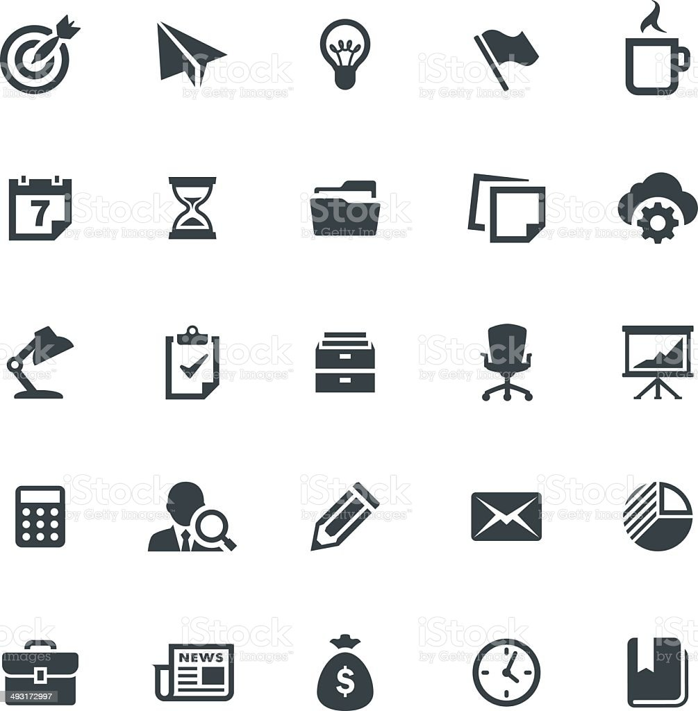Business and Office Icon Set vector art illustration