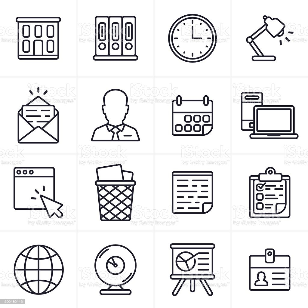 Business and Office Icons and Symbols vector art illustration