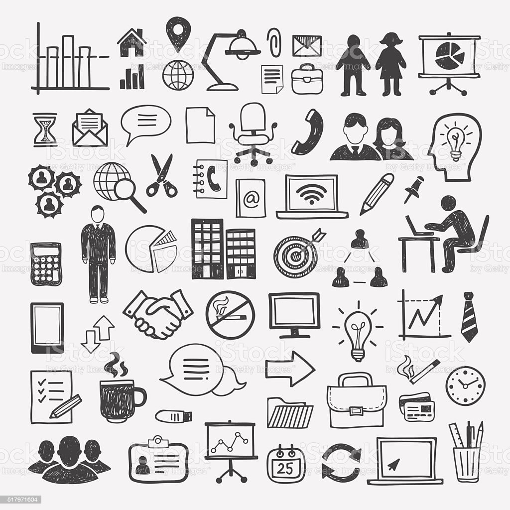 Business and office icons: people, computer, digital, infographics elements vector art illustration
