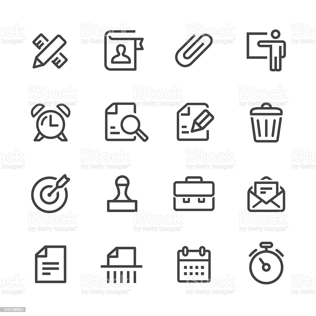 Business and Office Icons Set - Line Series vector art illustration