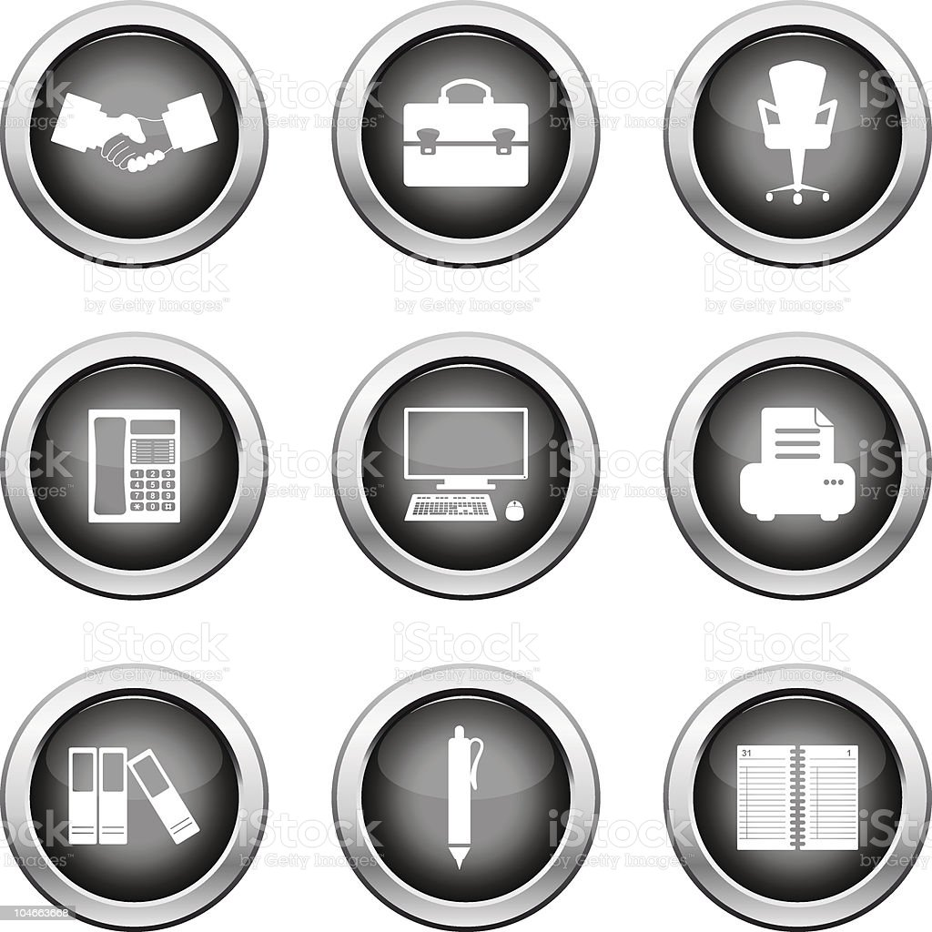 business and office icons set royalty-free stock vector art