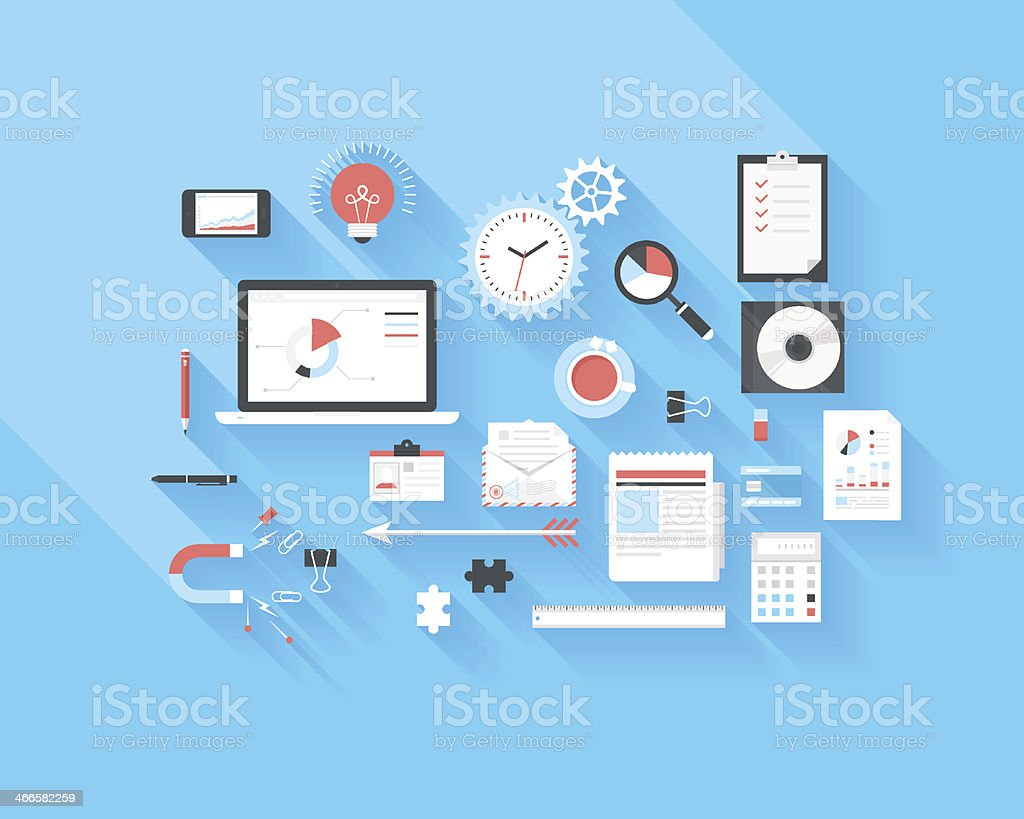 Business and office icons vector art illustration