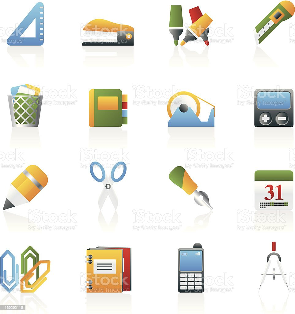 Business and office objects icons royalty-free stock photo