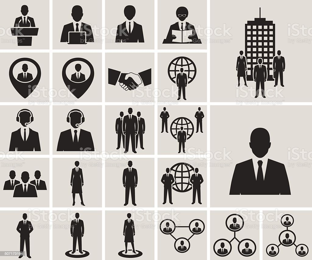 Business and office people, management, human resources vector icons set vector art illustration