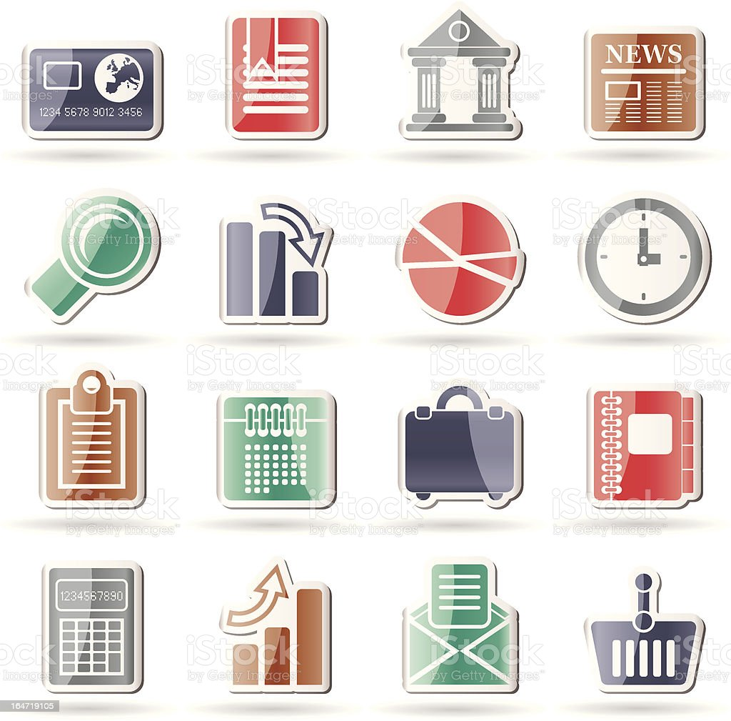 Business and Office Realistic Internet Icons royalty-free stock vector art