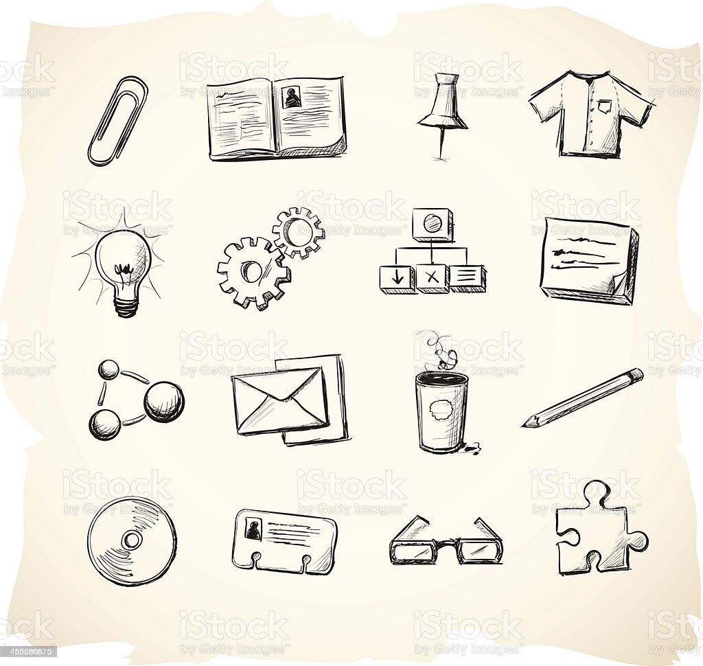 Business and office sketch icons vector art illustration