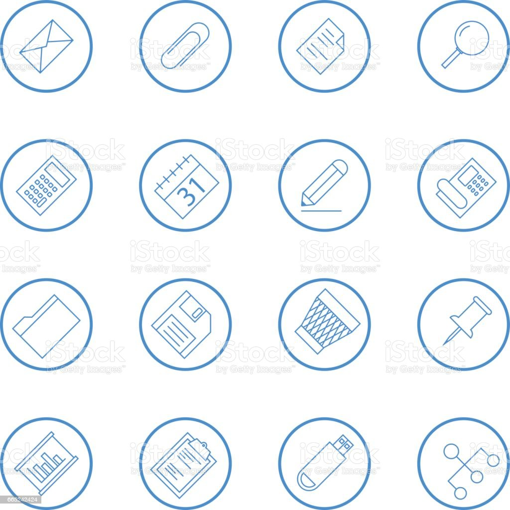 Business And Office Vector Line Icon Collection vector art illustration