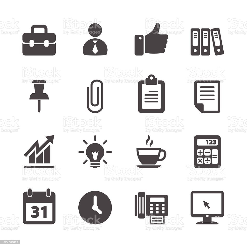 business and office work icon set, vector eps10 vector art illustration
