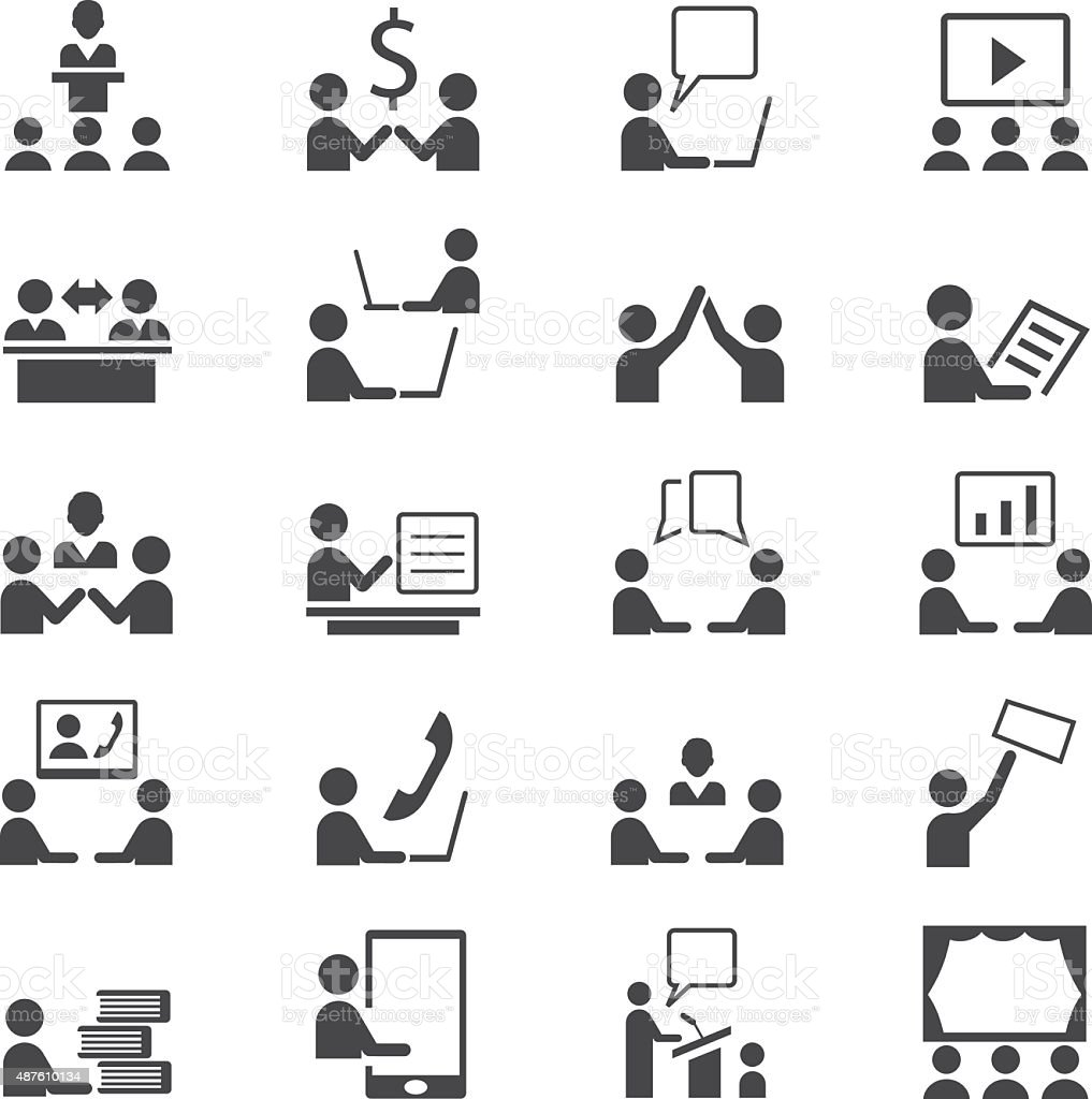Business and presentation icon set vector art illustration