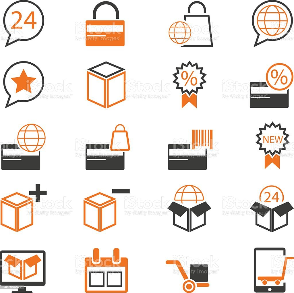Business and shopping icon set vector art illustration