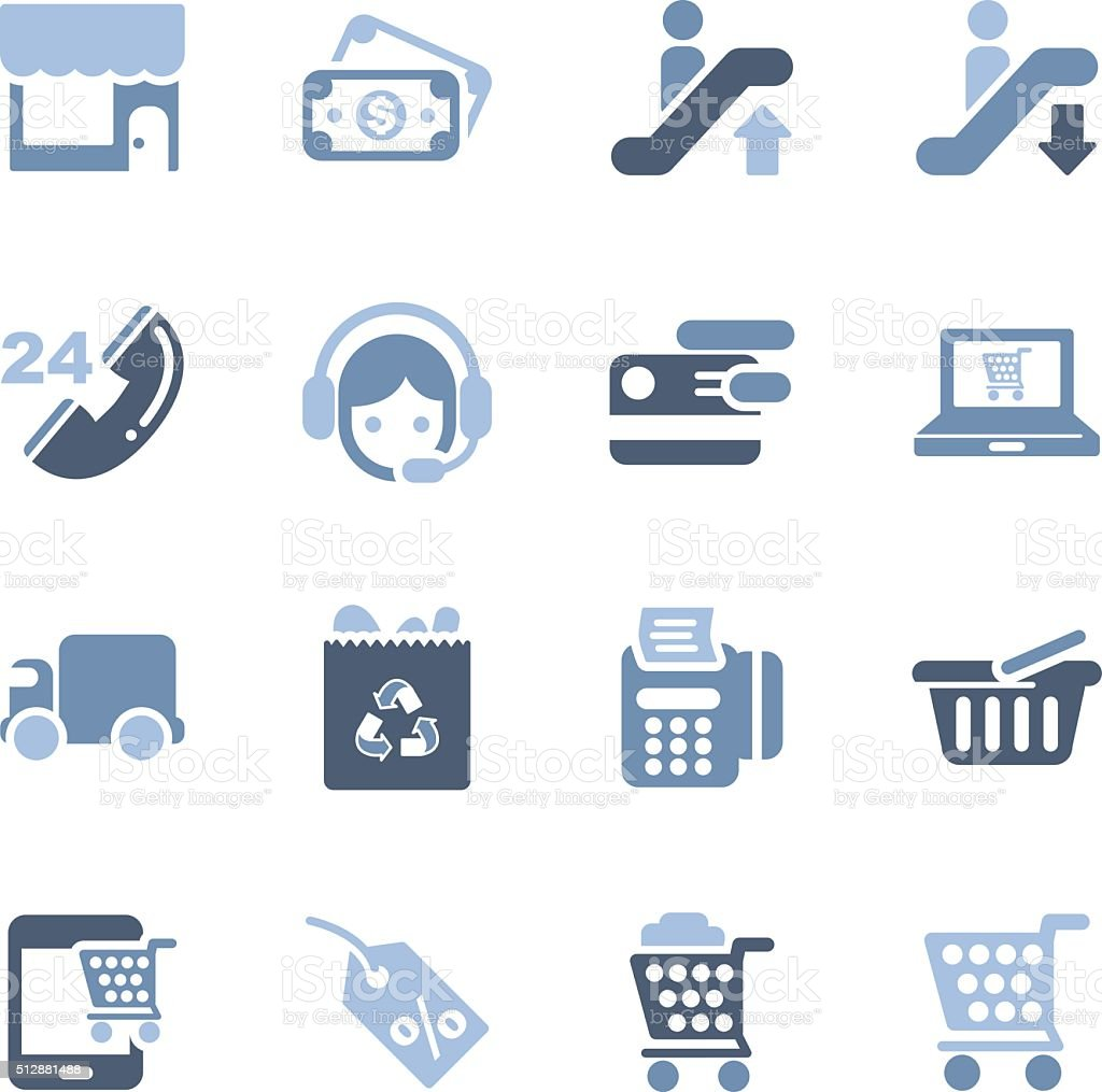 business and shopping icons vector art illustration