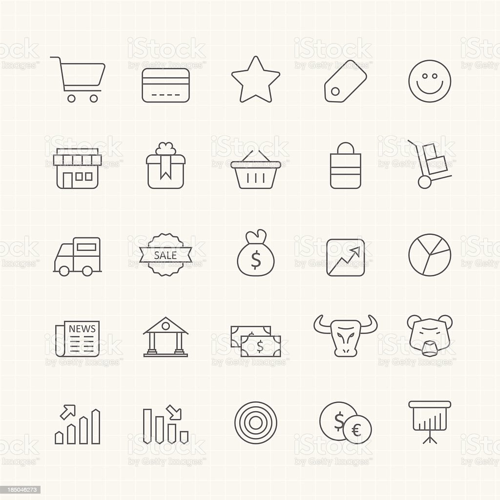 Business and shopping vector thin line symbol icon vector art illustration