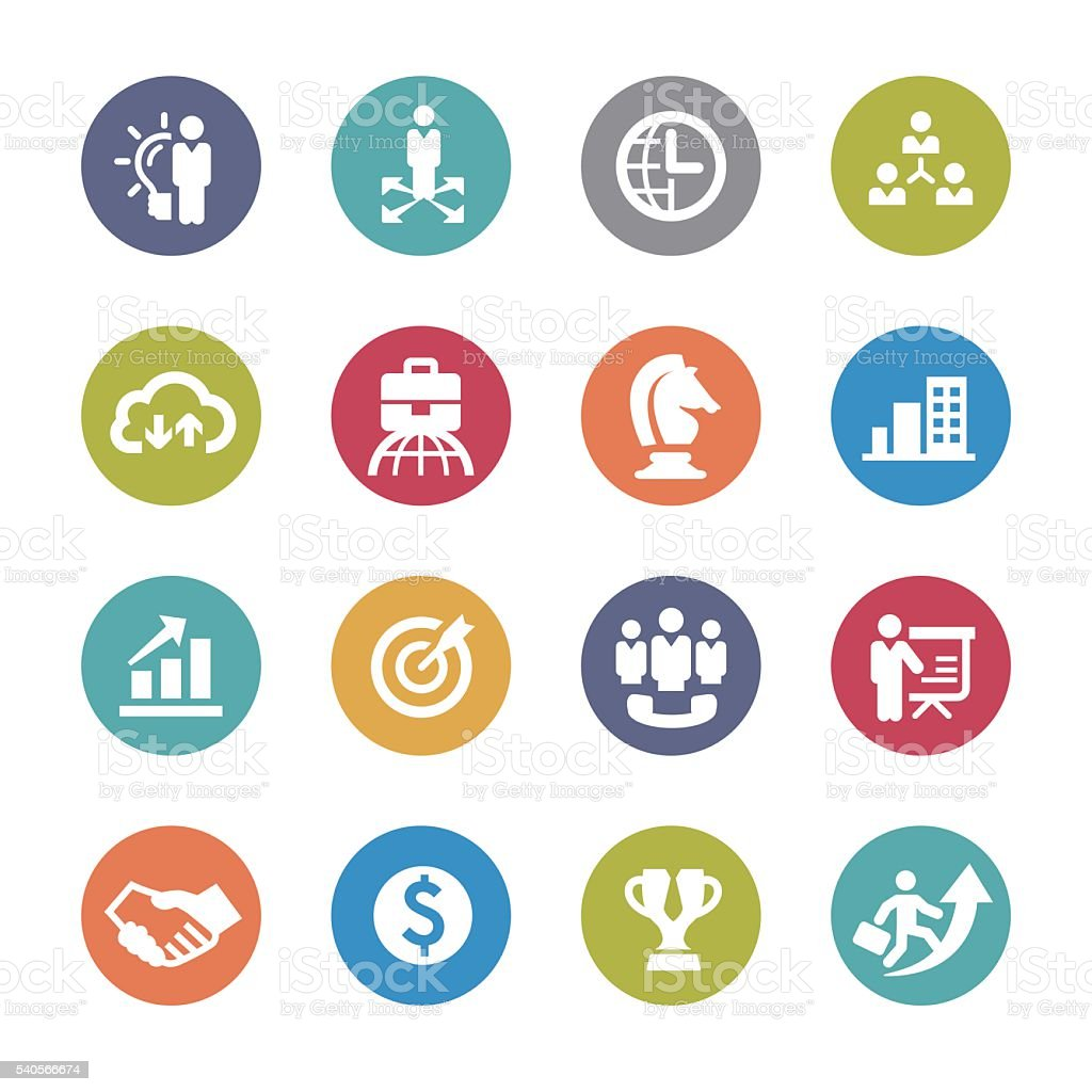 Business and Strategy Icons Set - Circle Series vector art illustration