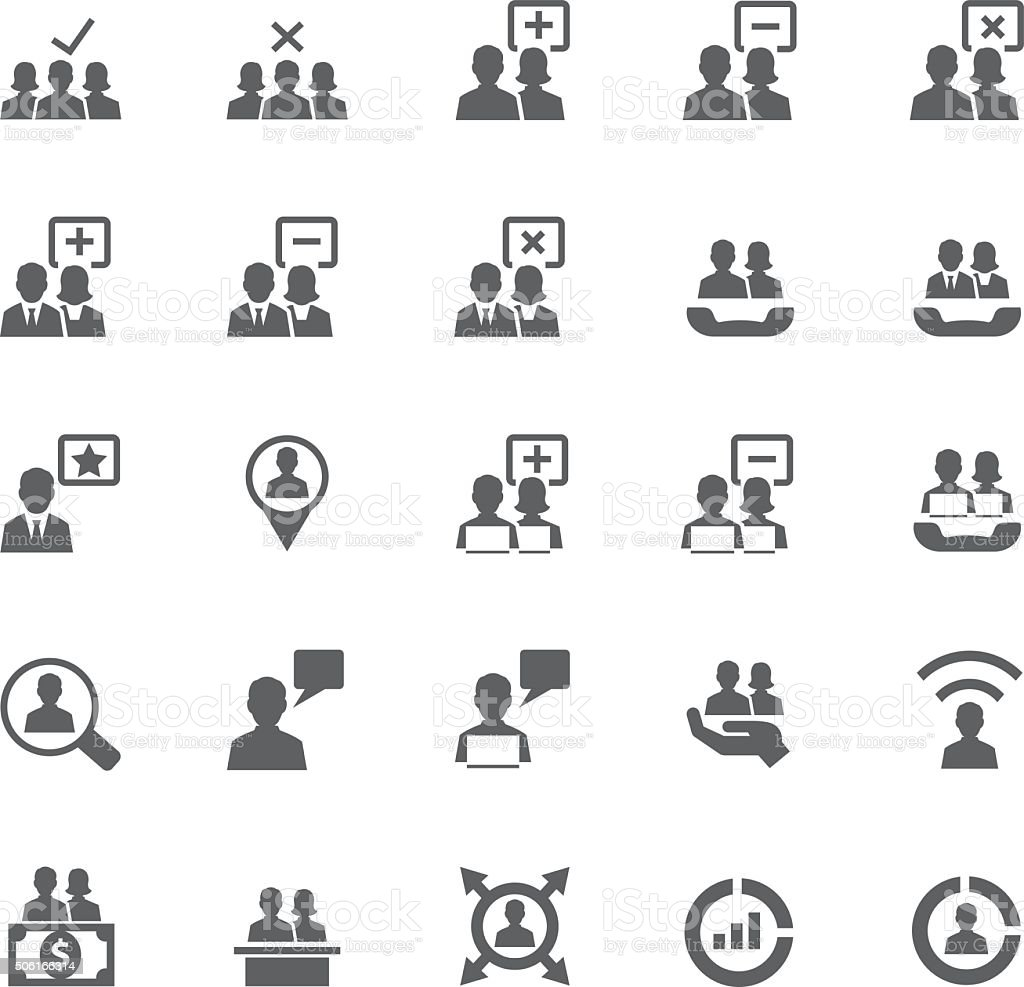 Business and user icon set vector art illustration