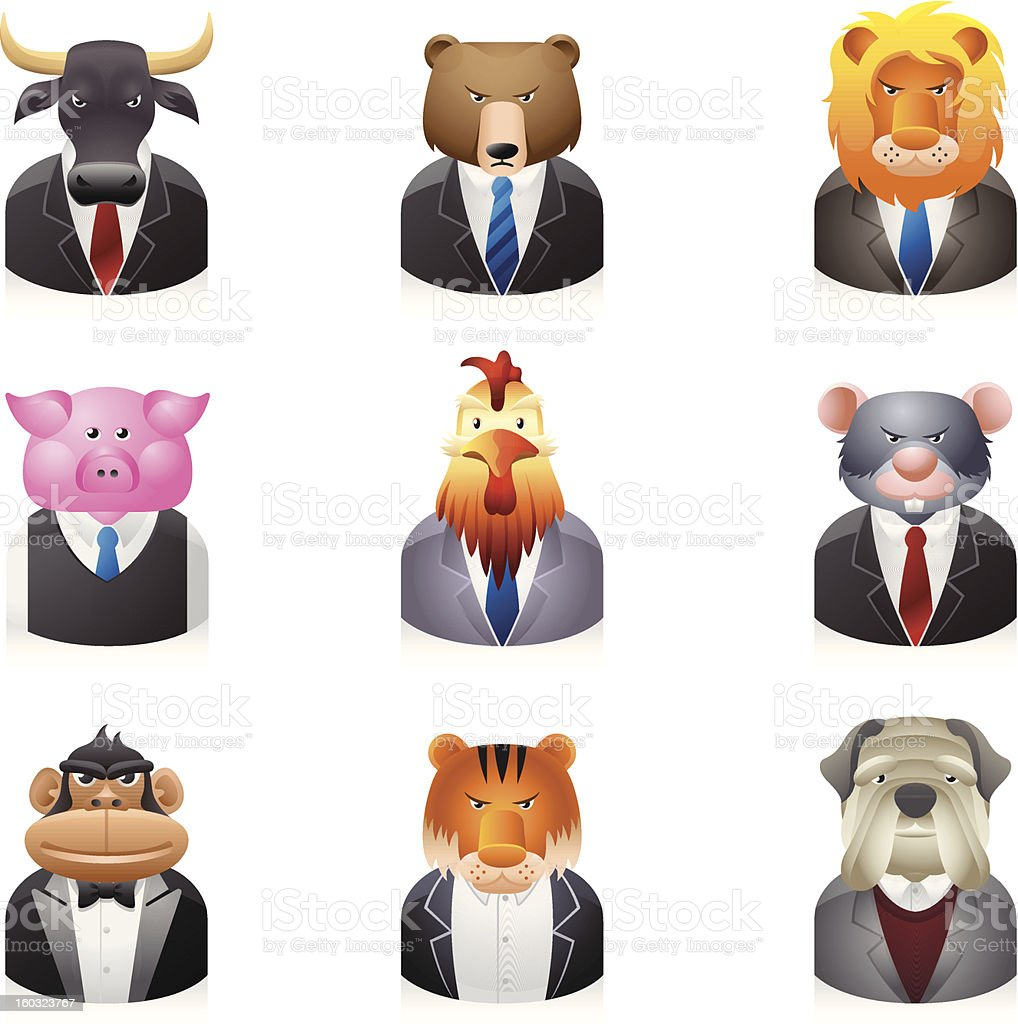 Business Animal Icons royalty-free stock vector art