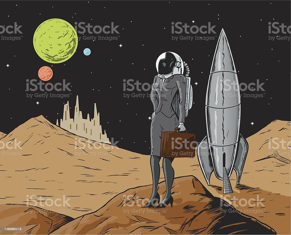 Business Astronaut vector art illustration