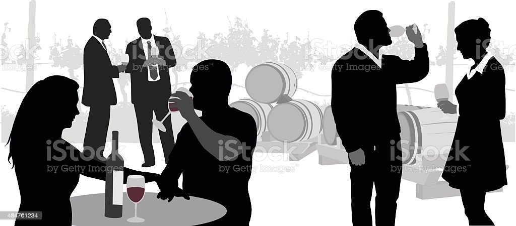 Business At The Vineyards vector art illustration