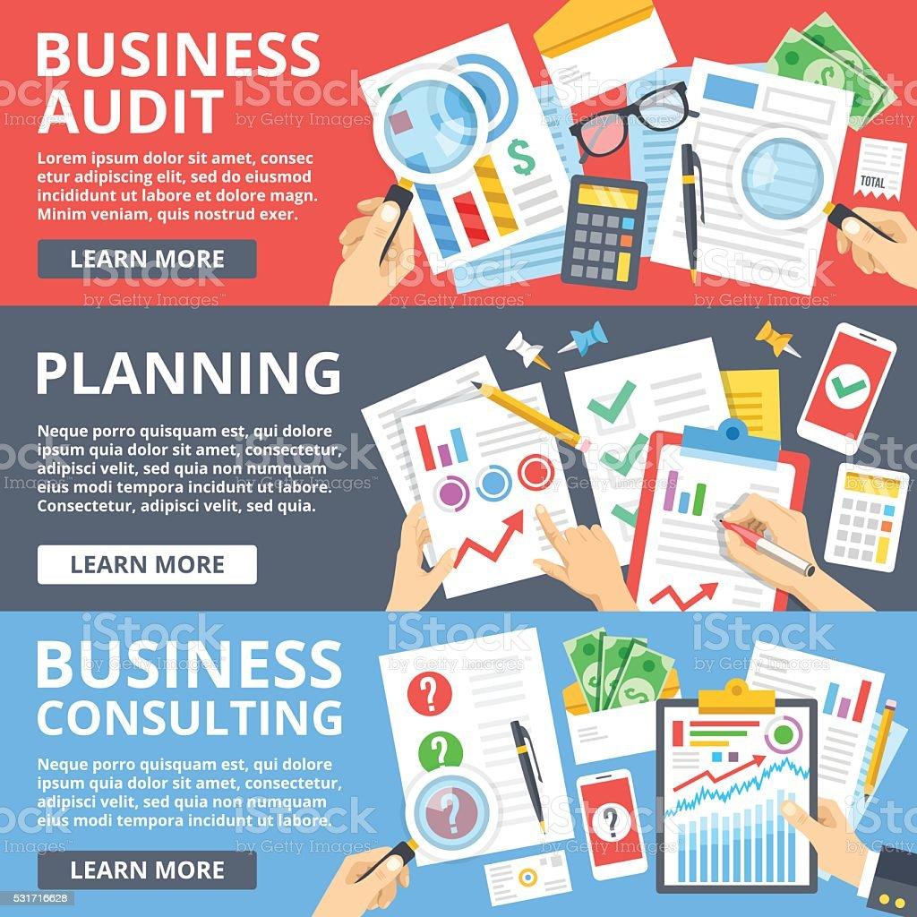 Business audit, planning, business consulting flat design vector illustration set vector art illustration
