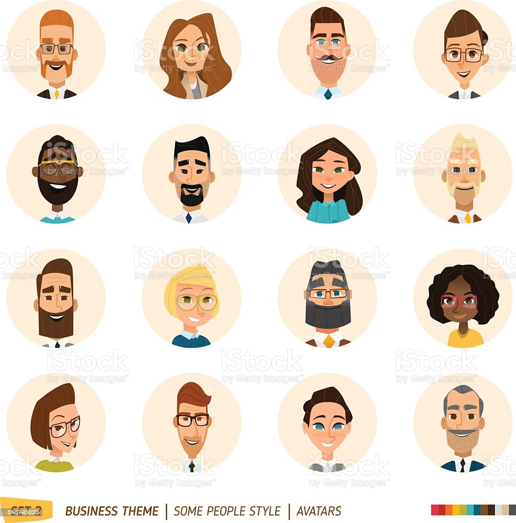 Business avatars set vector art illustration