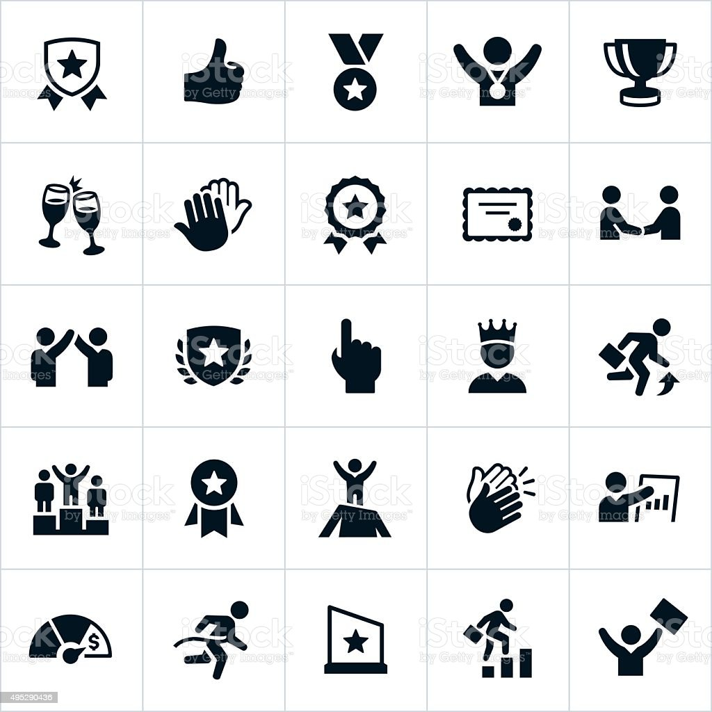 Business Award and Recognition Icons vector art illustration
