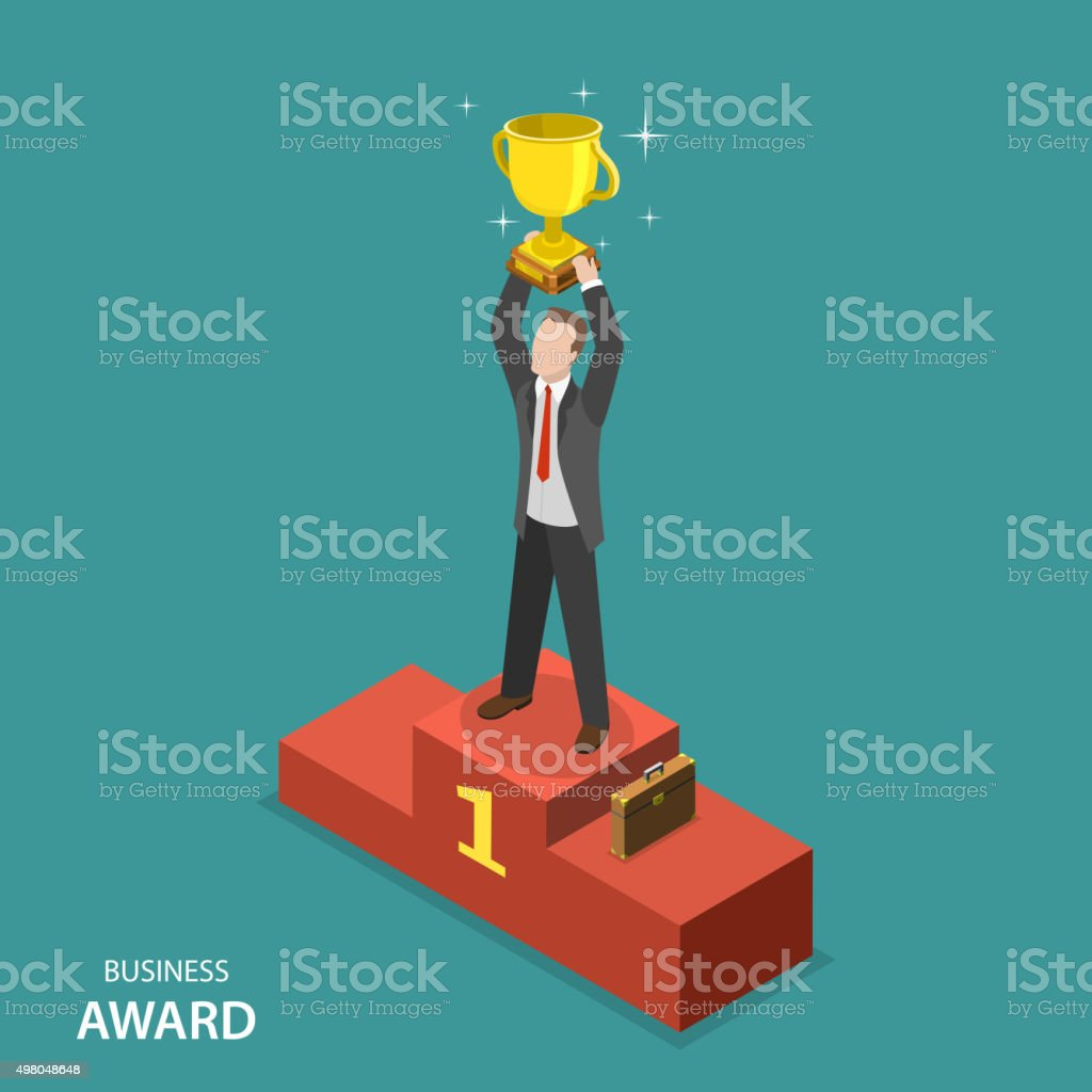 Business award isometric flat vector concept. vector art illustration