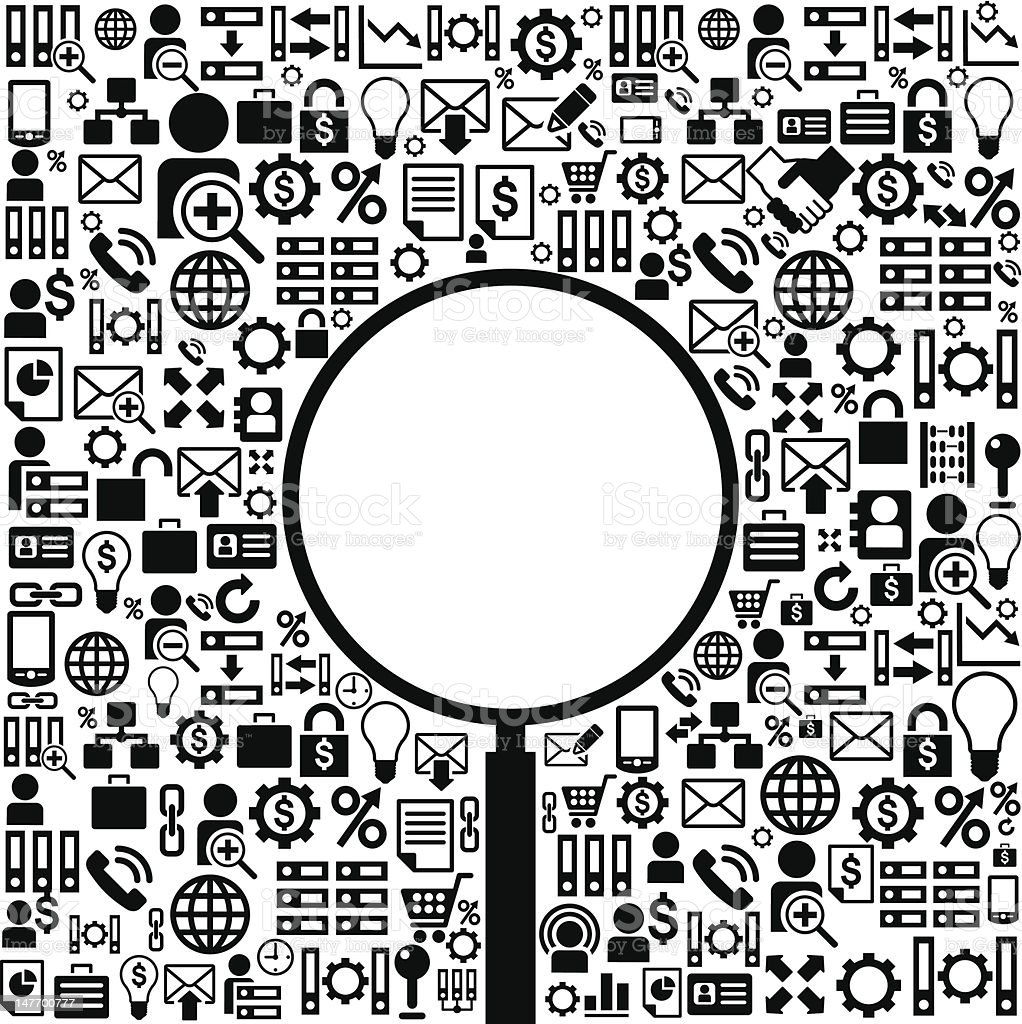 business background with magnifying glass royalty-free stock vector art