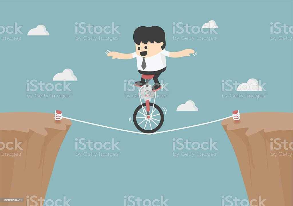 Business balancing on the rope vector art illustration