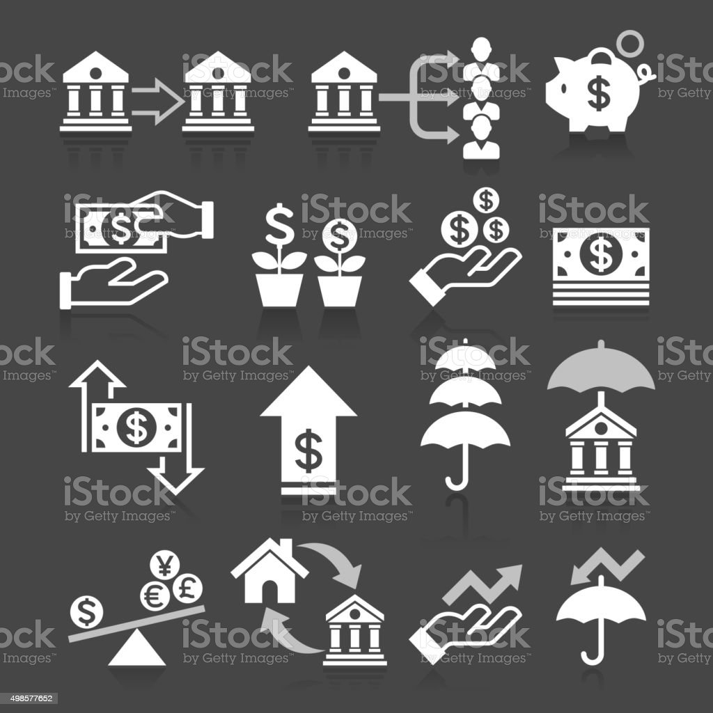 Business banking concept icons set. vector art illustration