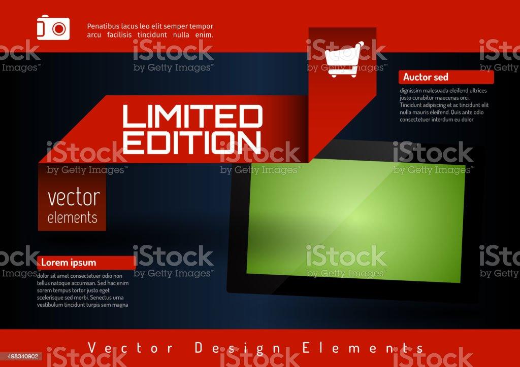 Business banner with modern display. Vector design elements for vector art illustration