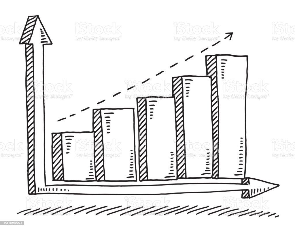 Business Bar Chart Success Drawing vector art illustration