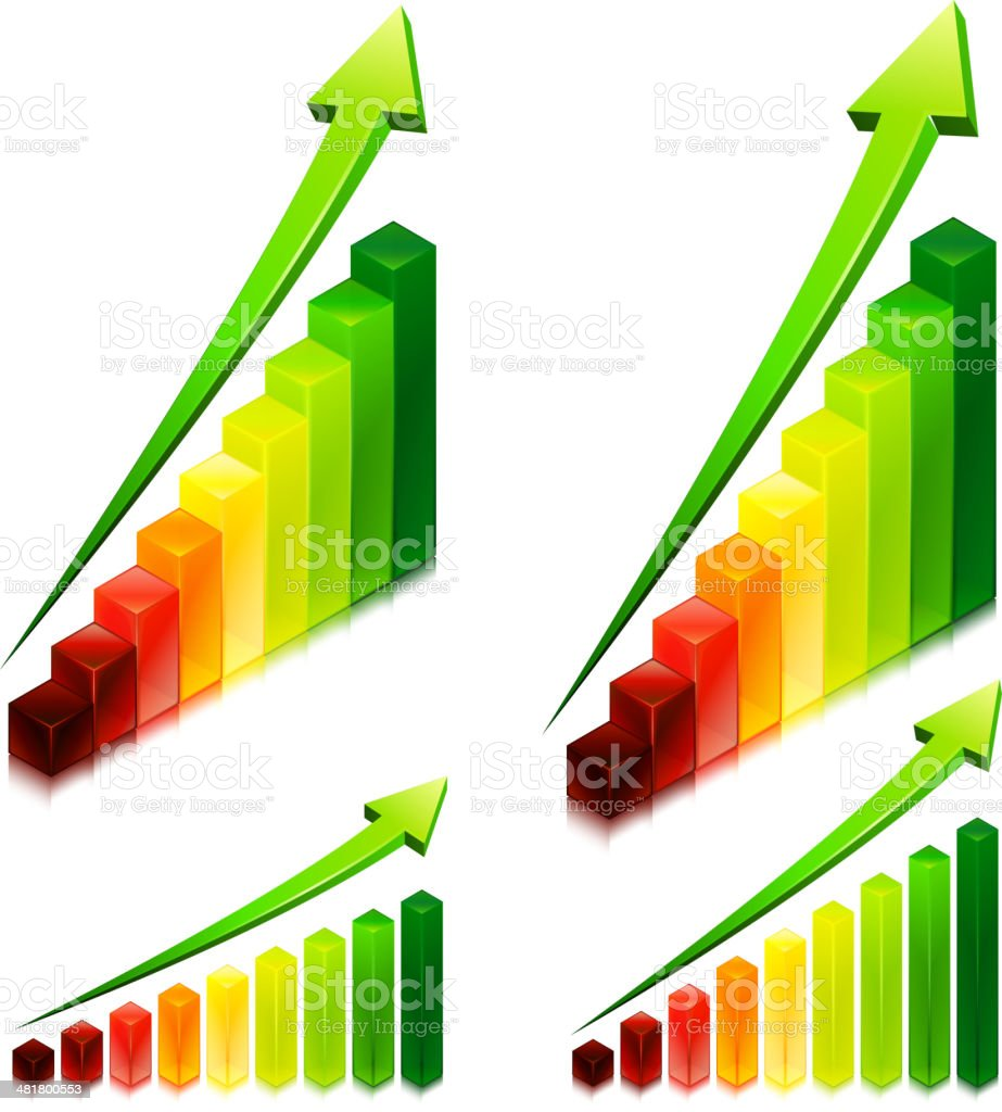 Business Bar Graph Set with Arrow royalty-free stock vector art