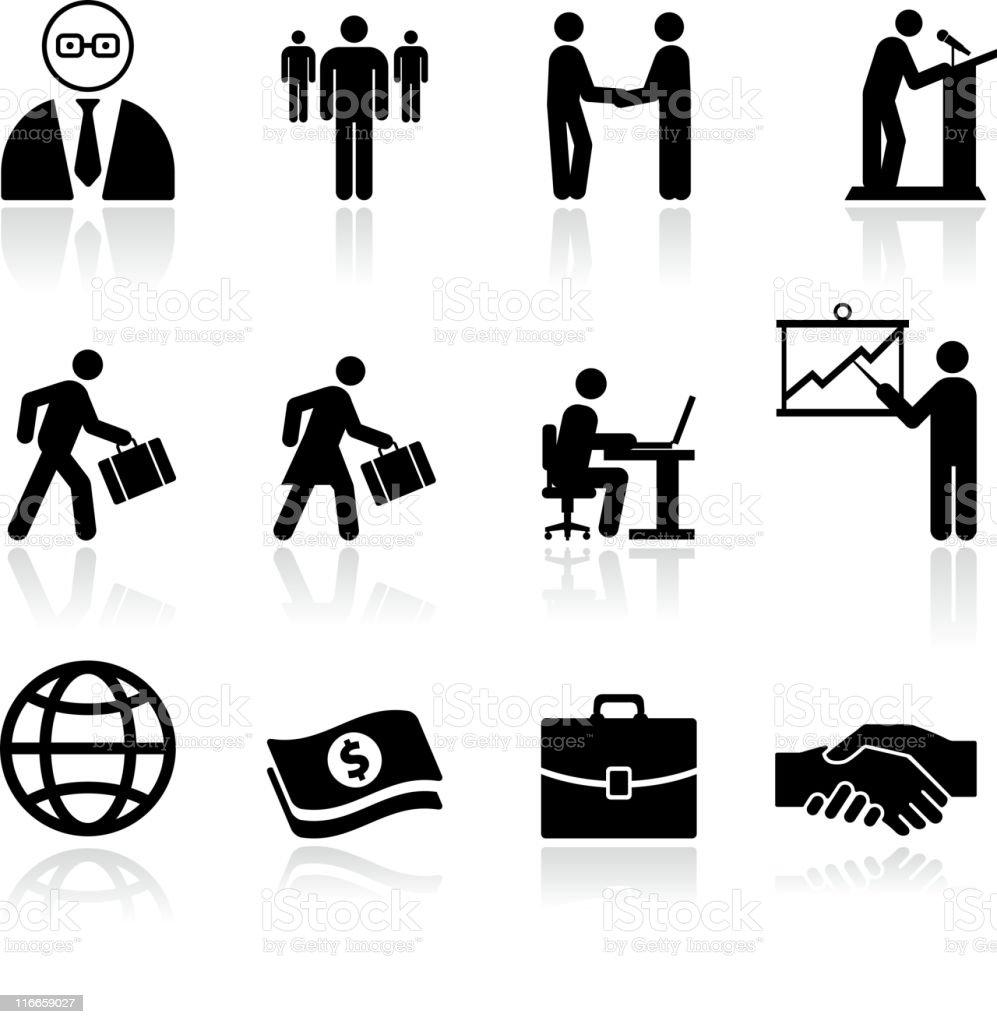 business black and white icon  set vector art illustration