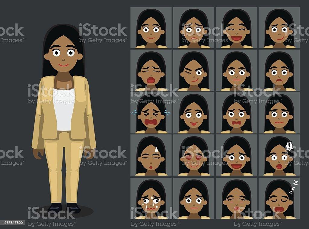 Business Black Woman Cartoon Emotion faces Vector Illustration vector art illustration