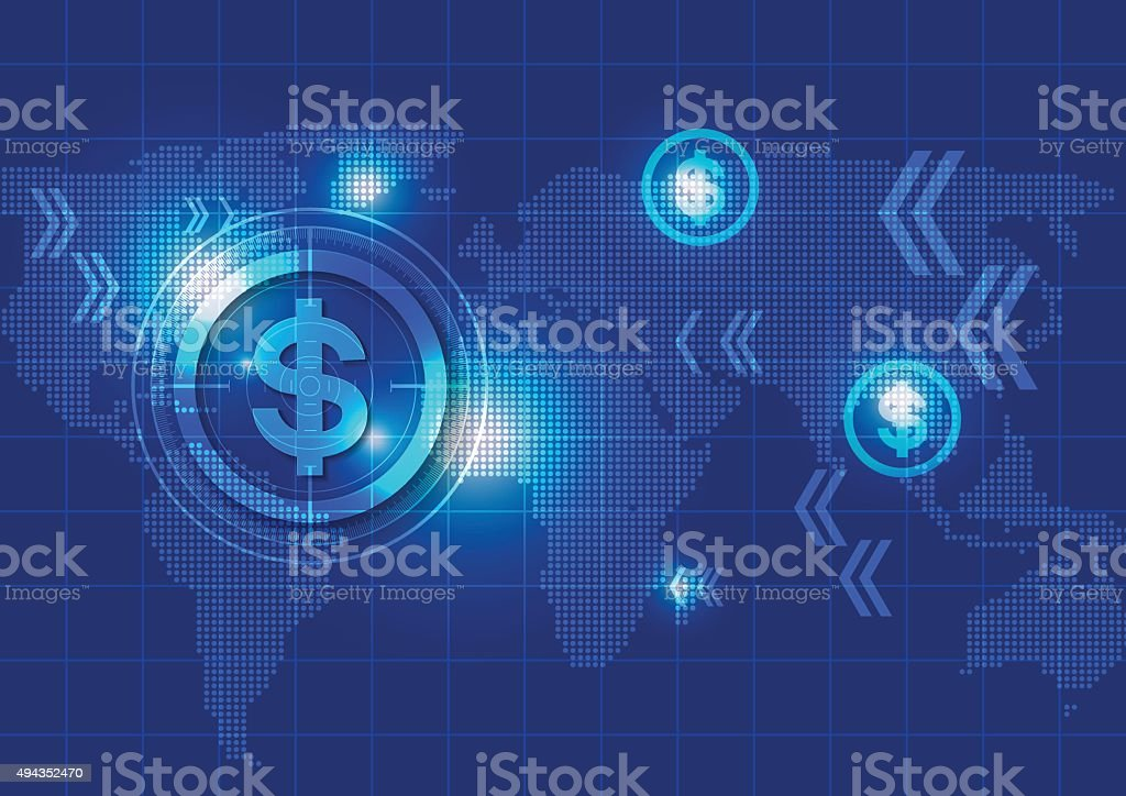 Business Blue Background with Dollar Signs and Map vector art illustration